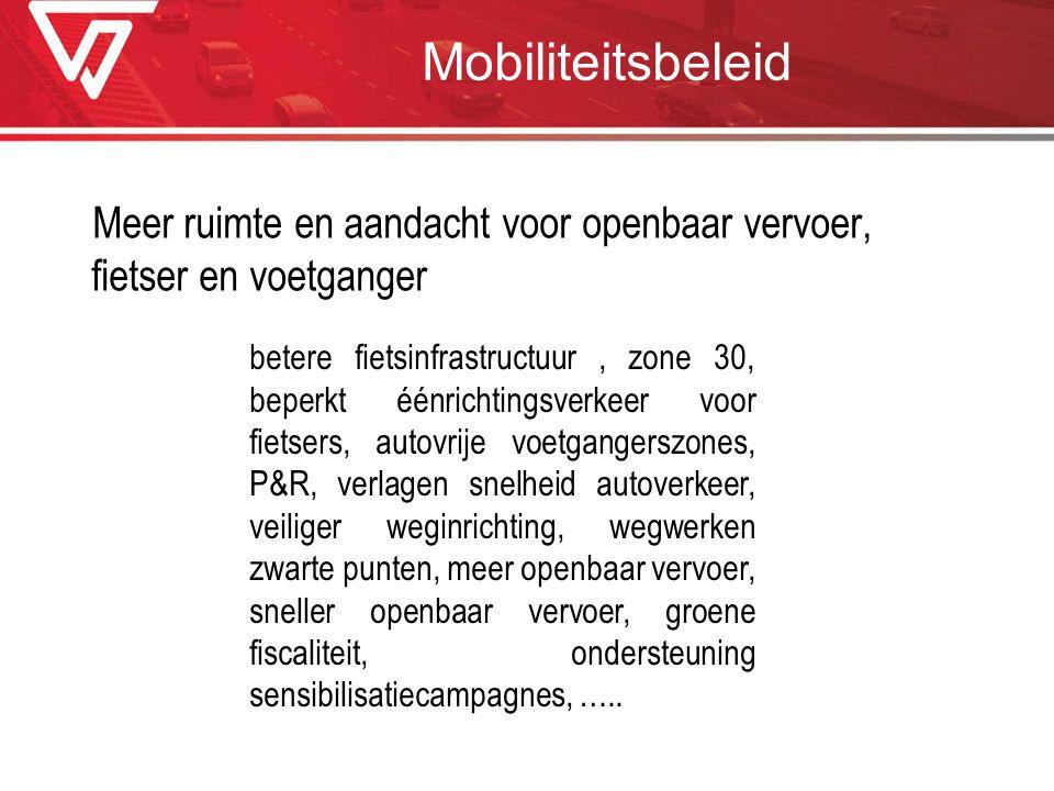 Mobiliteitsbeleid Meer ruimte en aandacht voor openbaar vervoer, fietser en voetganger betere fietsinfrastructuur, zone 30, beperkt éénrichtingsverkee