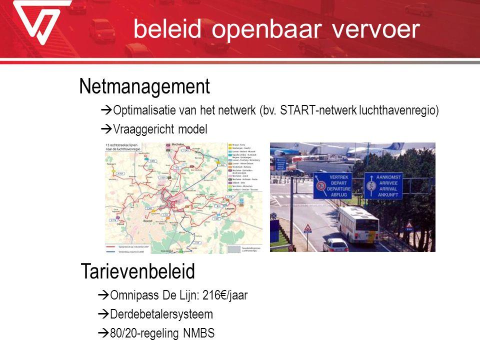 beleid openbaar vervoer Netmanagement  Optimalisatie van het netwerk (bv. START-netwerk luchthavenregio)  Vraaggericht model Tarievenbeleid  Omnipa