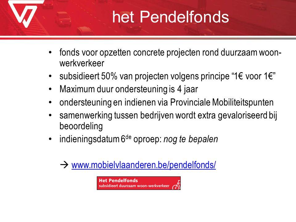 """het Pendelfonds fonds voor opzetten concrete projecten rond duurzaam woon- werkverkeer subsidieert 50% van projecten volgens principe """"1€ voor 1€"""" Max"""