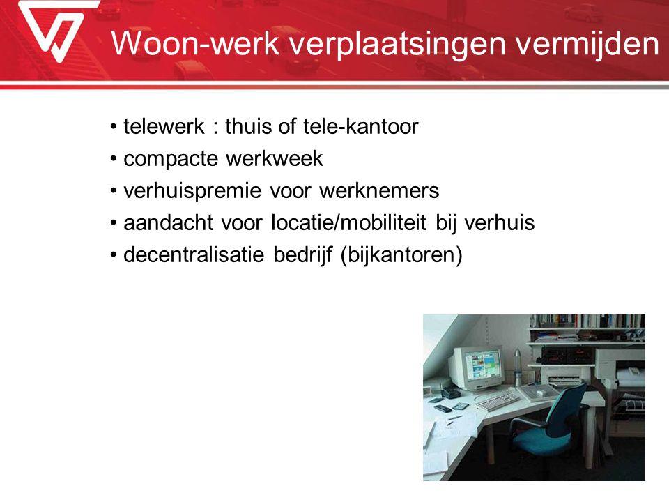Woon-werk verplaatsingen vermijden telewerk : thuis of tele-kantoor compacte werkweek verhuispremie voor werknemers aandacht voor locatie/mobiliteit b
