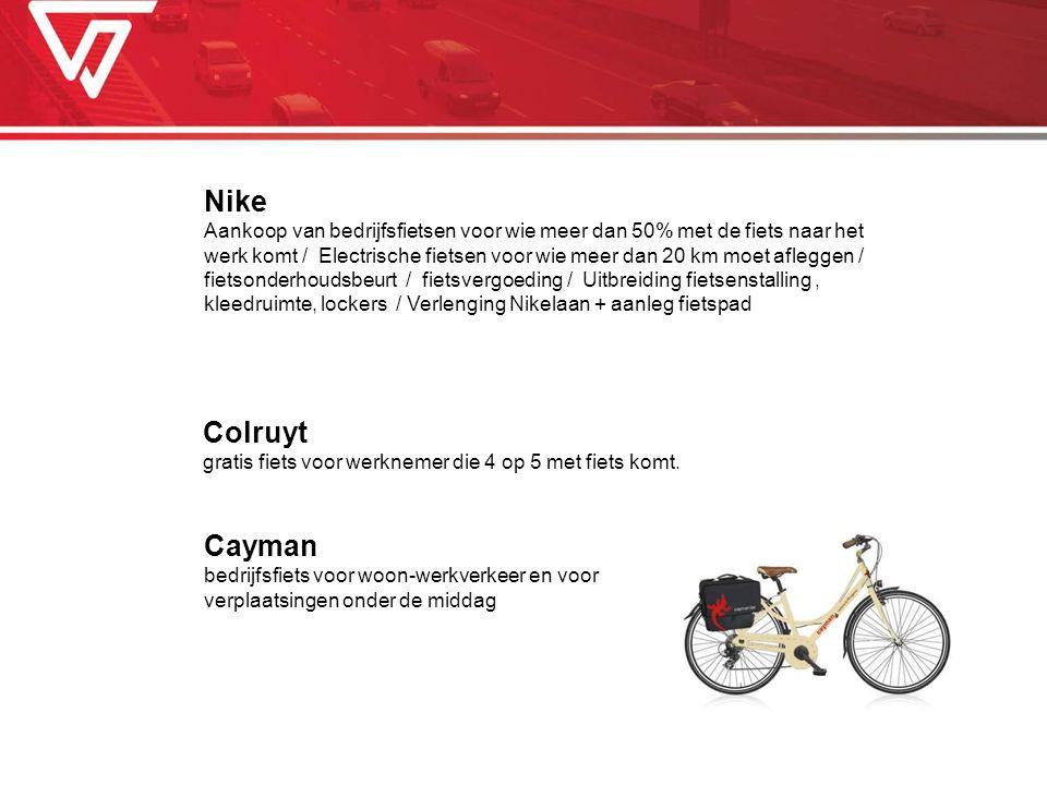 Colruyt gratis fiets voor werknemer die 4 op 5 met fiets komt. Nike Aankoop van bedrijfsfietsen voor wie meer dan 50% met de fiets naar het werk komt