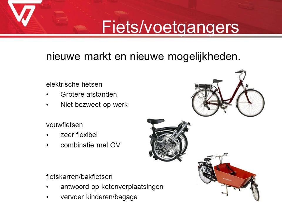nieuwe markt en nieuwe mogelijkheden. elektrische fietsen Grotere afstanden Niet bezweet op werk vouwfietsen zeer flexibel combinatie met OV fietskarr