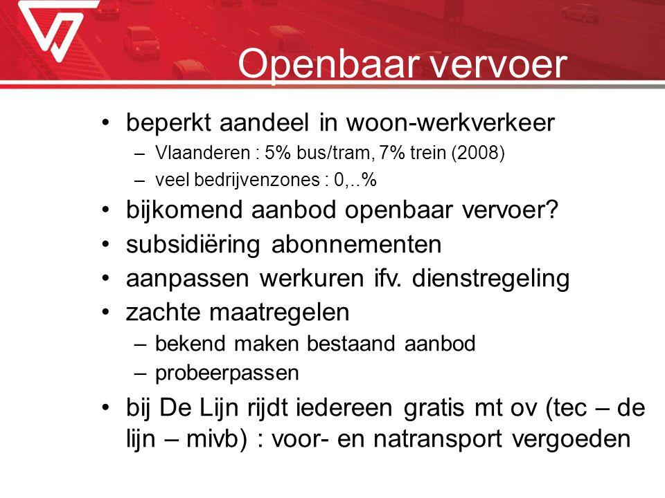 beperkt aandeel in woon-werkverkeer –Vlaanderen : 5% bus/tram, 7% trein (2008) –veel bedrijvenzones : 0,..% bijkomend aanbod openbaar vervoer? subsidi
