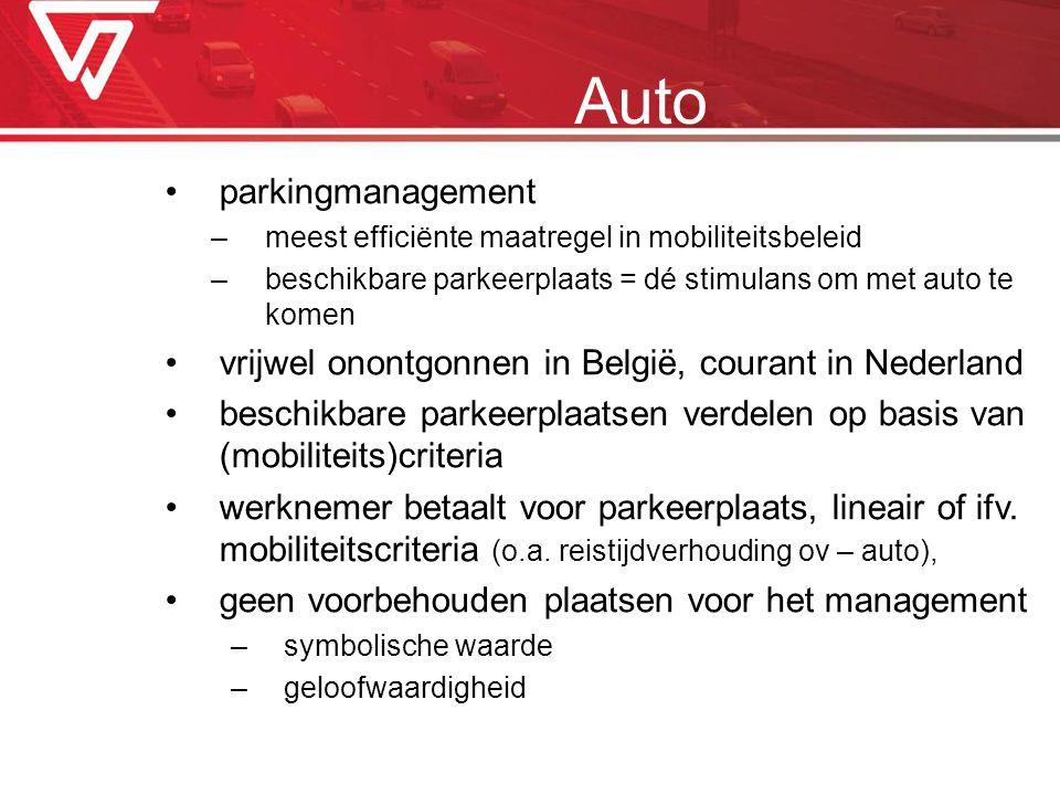 parkingmanagement –meest efficiënte maatregel in mobiliteitsbeleid –beschikbare parkeerplaats = dé stimulans om met auto te komen vrijwel onontgonnen