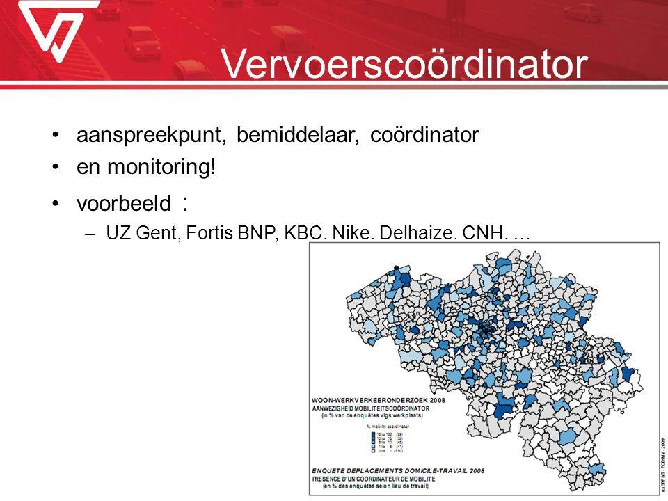 Vervoerscoördinator aanspreekpunt, bemiddelaar, coördinator en monitoring! voorbeeld : –UZ Gent, Fortis BNP, KBC, Nike, Delhaize, CNH, …