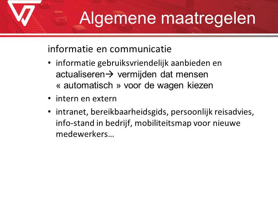 Algemene maatregelen informatie en communicatie informatie gebruiksvriendelijk aanbieden en actualiseren  vermijden dat mensen « automatisch » voor d