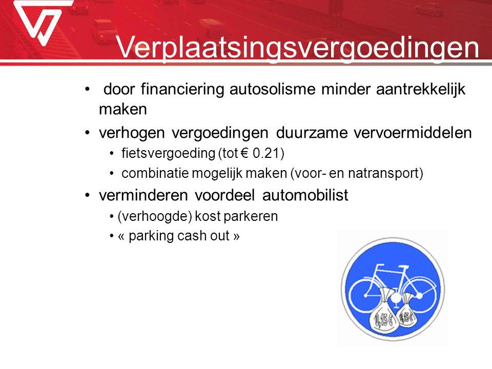 Verplaatsingsvergoedingen door financiering autosolisme minder aantrekkelijk maken verhogen vergoedingen duurzame vervoermiddelen fietsvergoeding (tot