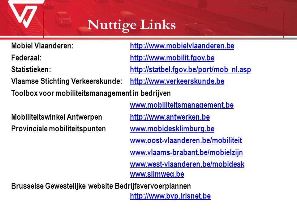 Nuttige Links Mobiel Vlaanderen: http://www.mobielvlaanderen.behttp://www.mobielvlaanderen.be Federaal:http://www.mobilit.fgov.behttp://www.mobilit.fg