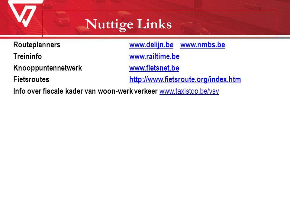 Nuttige Links Routeplanners www.delijn.be www.nmbs.bewww.delijn.bewww.nmbs.be Treininfowww.railtime.bewww.railtime.be Knooppuntennetwerkwww.fietsnet.b