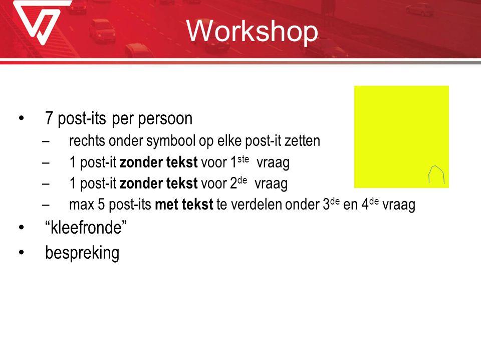 Workshop 7 post-its per persoon –rechts onder symbool op elke post-it zetten –1 post-it zonder tekst voor 1 ste vraag –1 post-it zonder tekst voor 2 d