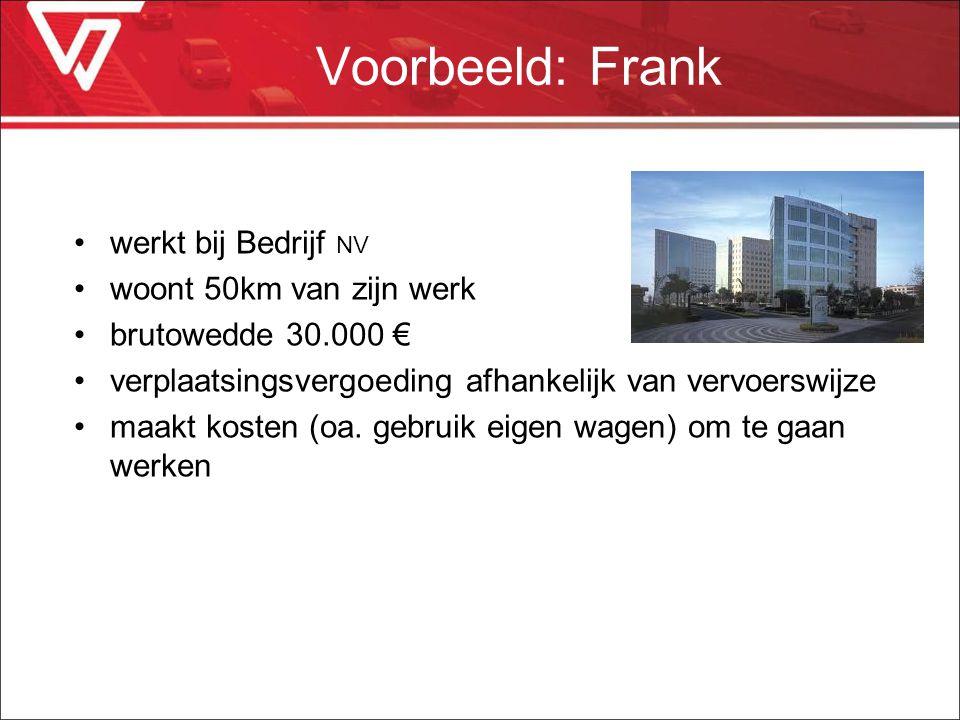 Voorbeeld: Frank werkt bij Bedrijf NV woont 50km van zijn werk brutowedde 30.000 € verplaatsingsvergoeding afhankelijk van vervoerswijze maakt kosten