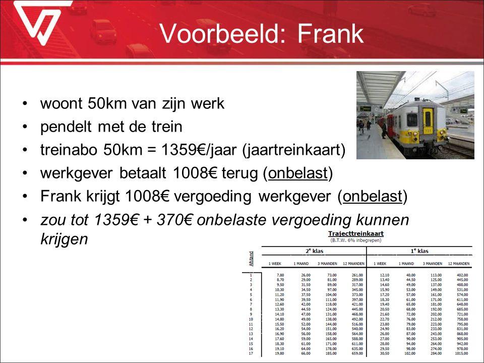 Voorbeeld: Frank woont 50km van zijn werk pendelt met de trein treinabo 50km = 1359€/jaar (jaartreinkaart) werkgever betaalt 1008€ terug (onbelast) Fr
