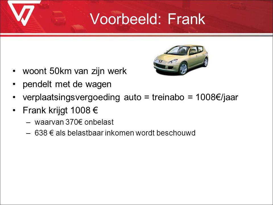 Voorbeeld: Frank woont 50km van zijn werk pendelt met de wagen verplaatsingsvergoeding auto = treinabo = 1008€/jaar Frank krijgt 1008 € –waarvan 370€