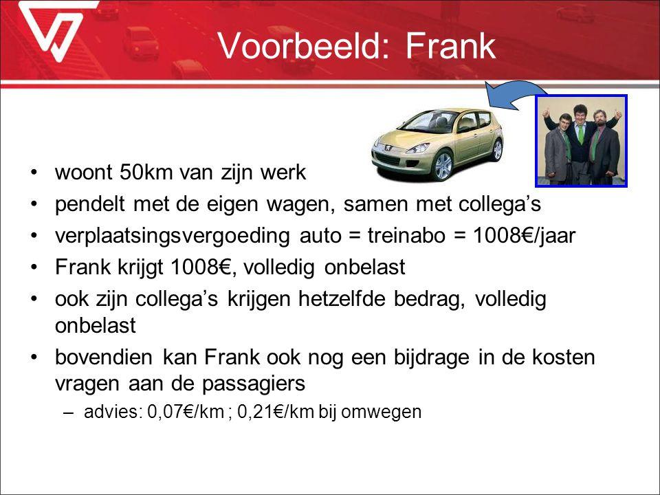 Voorbeeld: Frank woont 50km van zijn werk pendelt met de eigen wagen, samen met collega's verplaatsingsvergoeding auto = treinabo = 1008€/jaar Frank k
