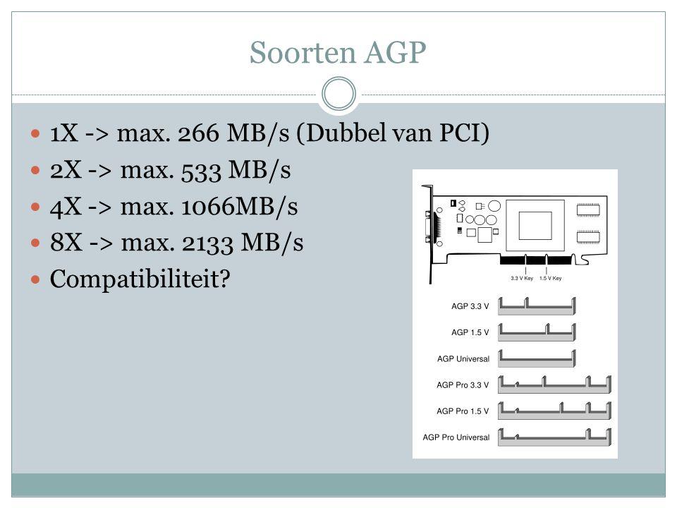 Soorten AGP 1X -> max. 266 MB/s (Dubbel van PCI) 2X -> max. 533 MB/s 4X -> max. 1066MB/s 8X -> max. 2133 MB/s Compatibiliteit?