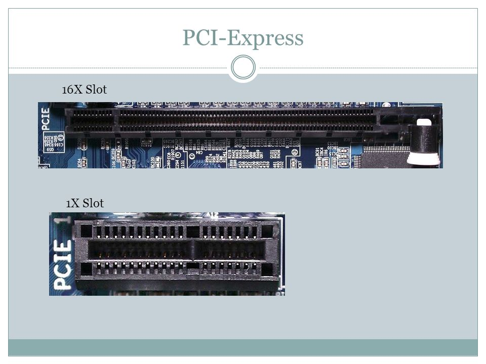 PCI-Express 16X Slot 1X Slot