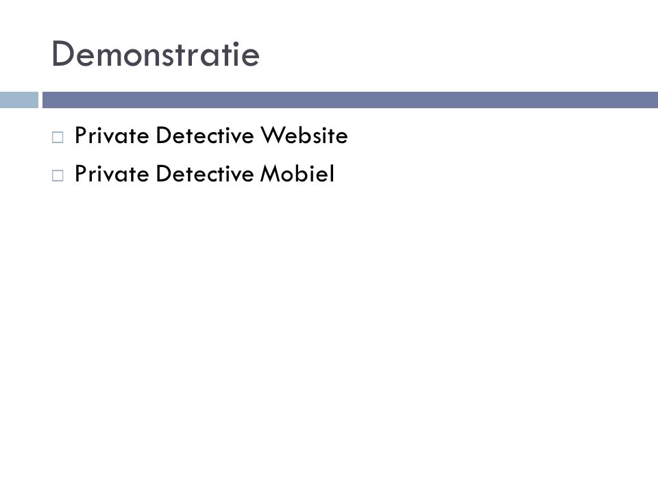 Demonstratie  Private Detective Website  Private Detective Mobiel