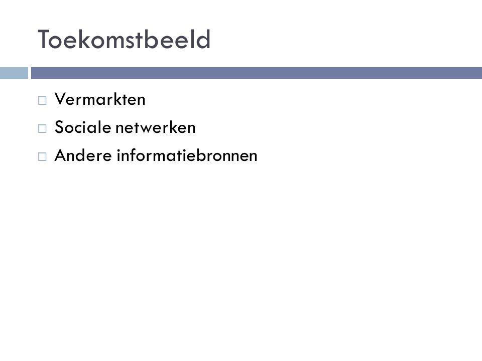 Toekomstbeeld  Vermarkten  Sociale netwerken  Andere informatiebronnen