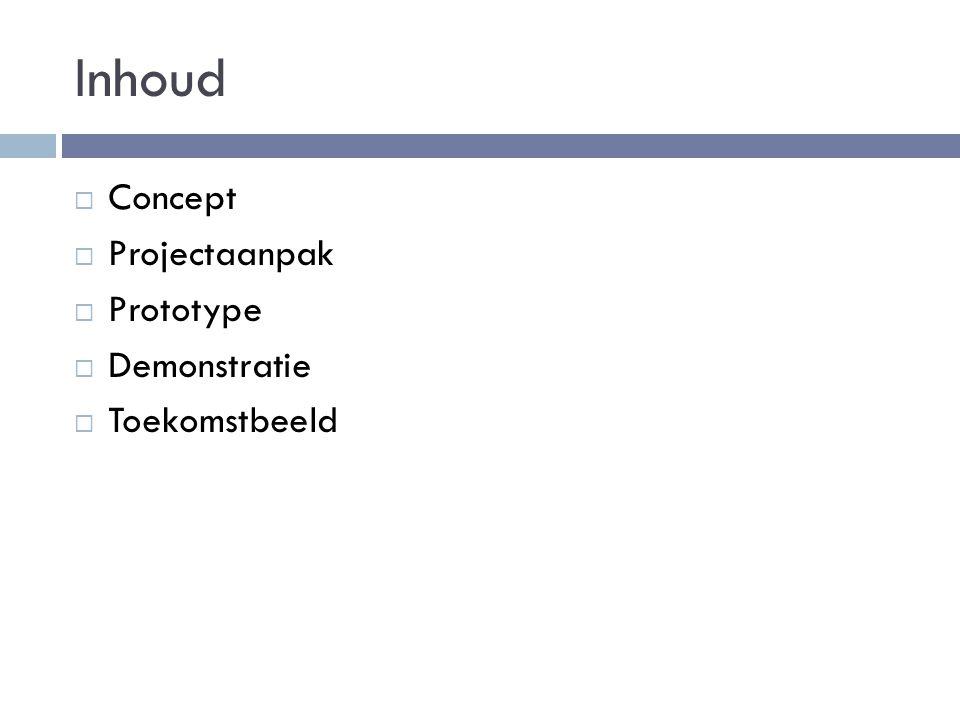 Inhoud  Concept  Projectaanpak  Prototype  Demonstratie  Toekomstbeeld