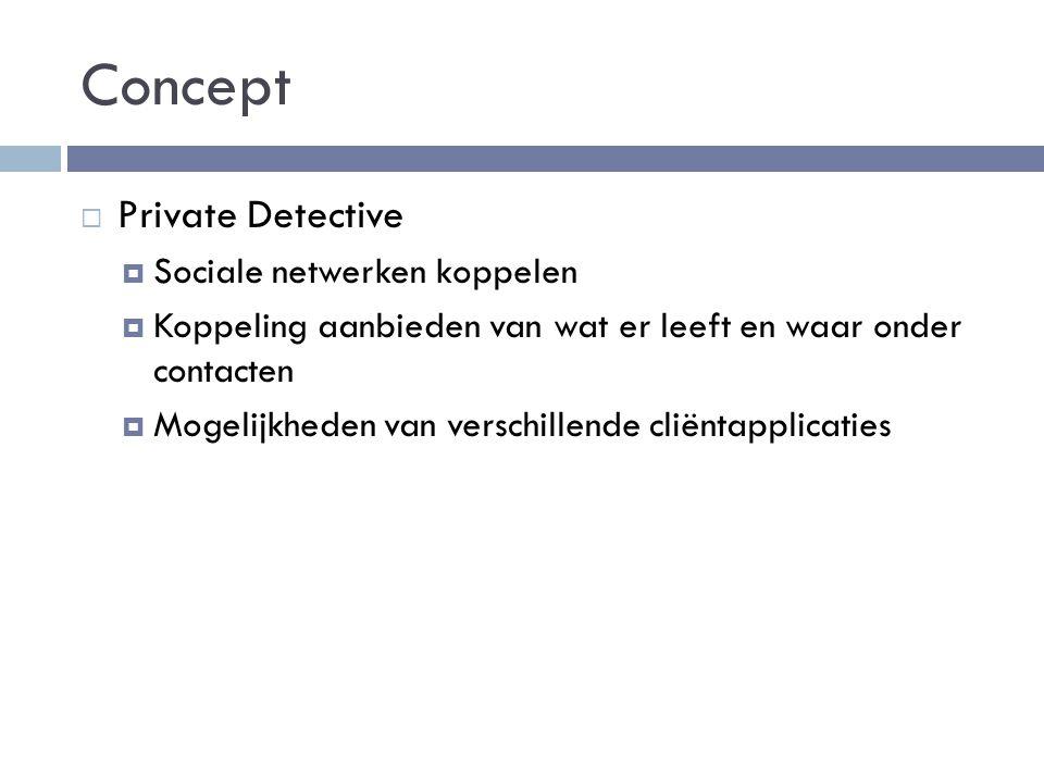 Concept  Private Detective  Sociale netwerken koppelen  Koppeling aanbieden van wat er leeft en waar onder contacten  Mogelijkheden van verschillende cliëntapplicaties
