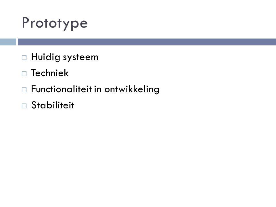 Prototype  Huidig systeem  Techniek  Functionaliteit in ontwikkeling  Stabiliteit