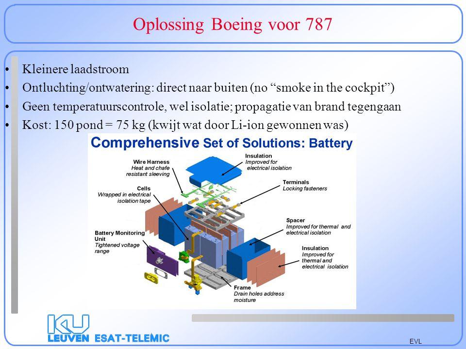 EVL Oplossing Boeing voor 787 Kleinere laadstroom Ontluchting/ontwatering: direct naar buiten (no smoke in the cockpit ) Geen temperatuurscontrole, wel isolatie; propagatie van brand tegengaan Kost: 150 pond = 75 kg (kwijt wat door Li-ion gewonnen was)