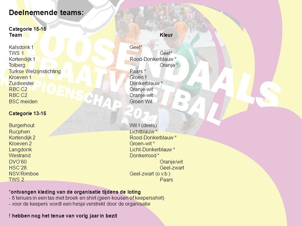 Deelnemende teams: Categorie 15-16 TeamKleur Kalsdonk 1Geel* TWS 1Geel* Kortendijk 1Rood-Donkerblauw * TolbergOranje * Turkse Welzijnstichting Paars * Kroeven 1Groen .