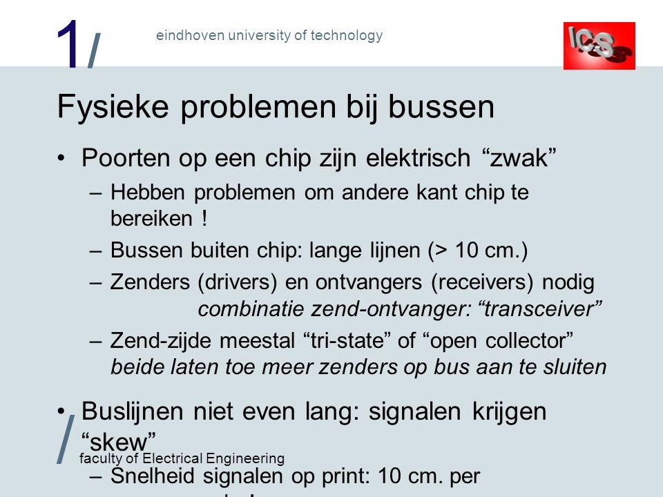1/1/ / faculty of Electrical Engineering eindhoven university of technology Fysieke problemen bij bussen Poorten op een chip zijn elektrisch zwak –Hebben problemen om andere kant chip te bereiken .