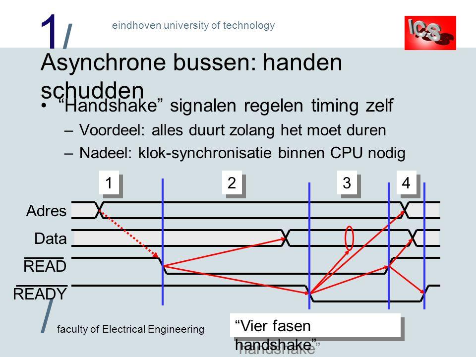 1/1/ / faculty of Electrical Engineering eindhoven university of technology Asynchrone bussen: handen schudden Handshake signalen regelen timing zelf –Voordeel: alles duurt zolang het moet duren –Nadeel: klok-synchronisatie binnen CPU nodig Data Adres READY READ 1 1 2 2 3 3 4 4 Vier fasen handshake