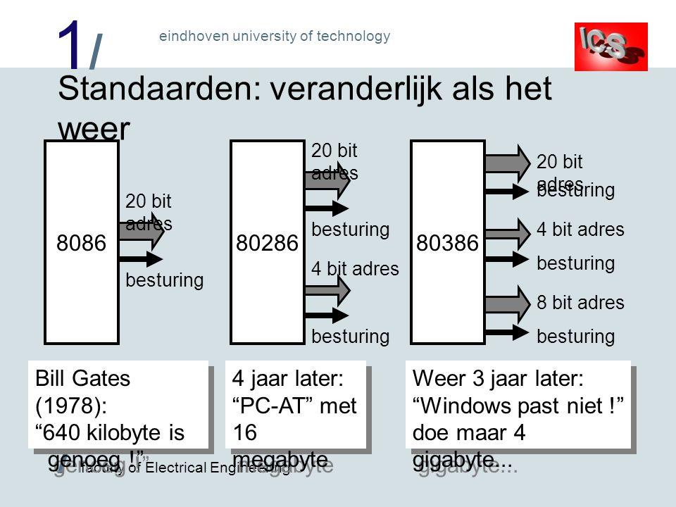1/1/ / faculty of Electrical Engineering eindhoven university of technology Standaarden: veranderlijk als het weer 8086 besturing 20 bit adres 80386 b