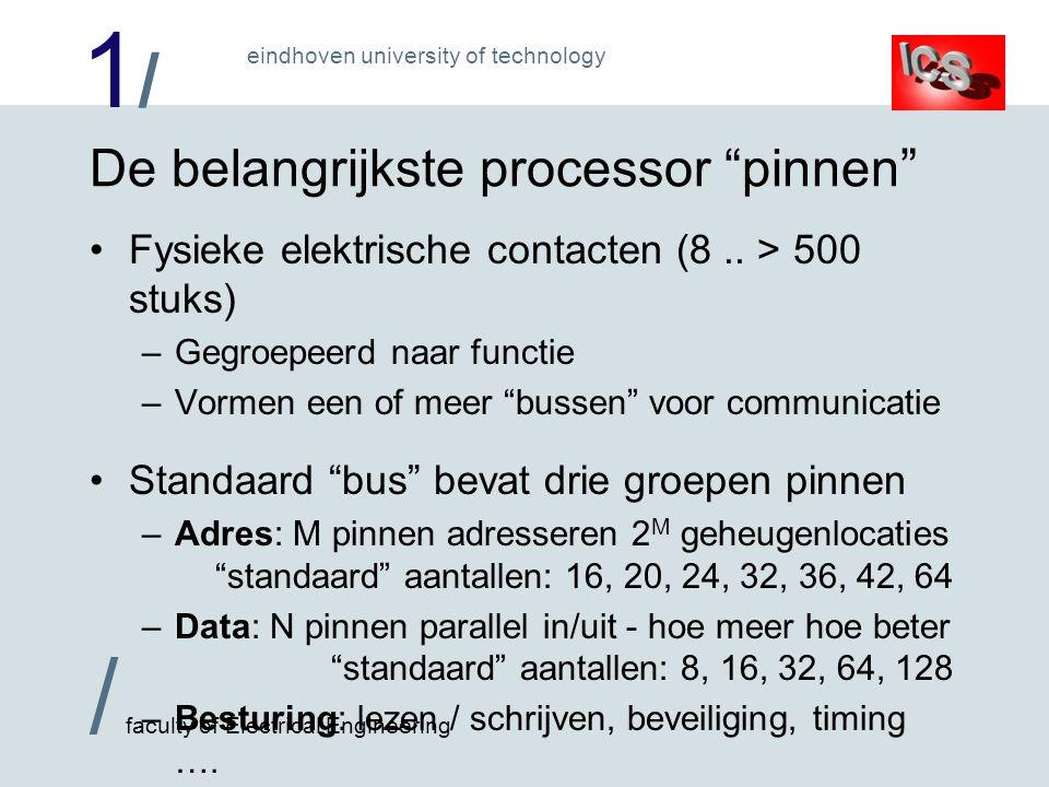 1/1/ / faculty of Electrical Engineering eindhoven university of technology Chip-set Vele van deze in Pentium-klasse PC ISA-bus IDE- bus USB - bus SCSI - bus Cache bus lokal e bus Geheugen bus PCI- bus Niet bij stof !