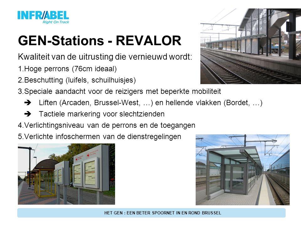 GEN-Stations - REVALOR Kwaliteit van de uitrusting die vernieuwd wordt: 1.Hoge perrons (76cm ideaal) 2.Beschutting (luifels, schuilhuisjes) 3.Speciale