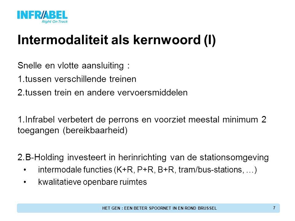 GEN-Stations Goede integratie met andere vervoersmiddelen (inter-modale knooppunten) Voorbeelden: - Brussel-West (ingang spoorwegstation in het metrostation) - Brussel-Schuman (gemeenschapelijke toegangen) HET GEN : EEN BETER SPOORNET IN EN ROND BRUSSEL