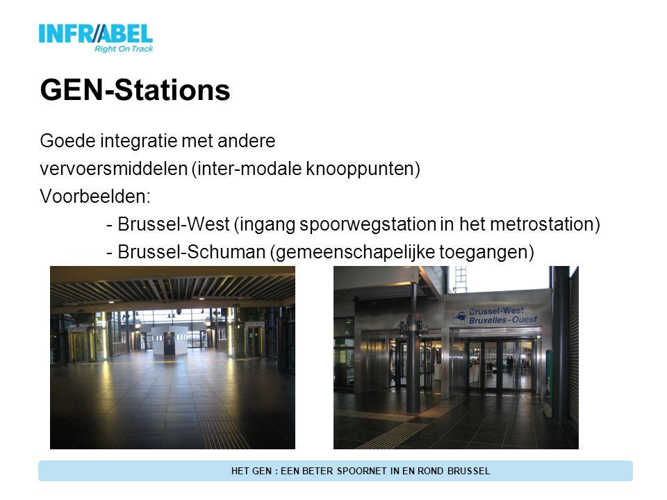 GEN-Stations Goede integratie met andere vervoersmiddelen (inter-modale knooppunten) Voorbeelden: - Brussel-West (ingang spoorwegstation in het metros