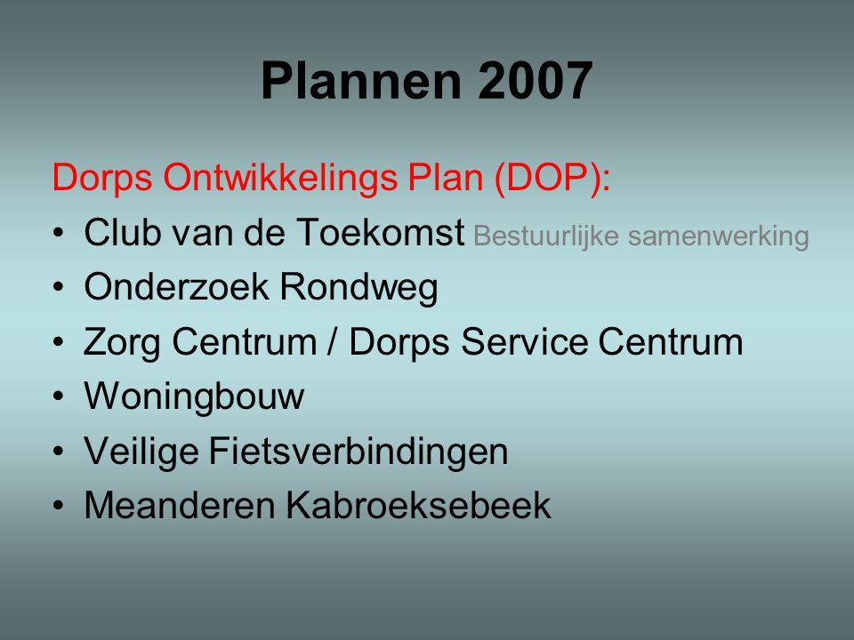 Plannen 2007 Dorps Ontwikkelings Plan (DOP): Club van de Toekomst Bestuurlijke samenwerking Onderzoek Rondweg Zorg Centrum / Dorps Service Centrum Woningbouw Veilige Fietsverbindingen Meanderen Kabroeksebeek