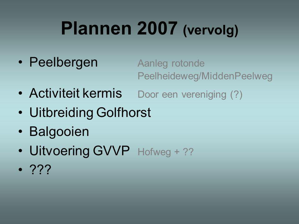 Plannen 2007 (vervolg) Peelbergen Aanleg rotonde Peelheideweg/MiddenPeelweg Activiteit kermis Door een vereniging (?) Uitbreiding Golfhorst Balgooien