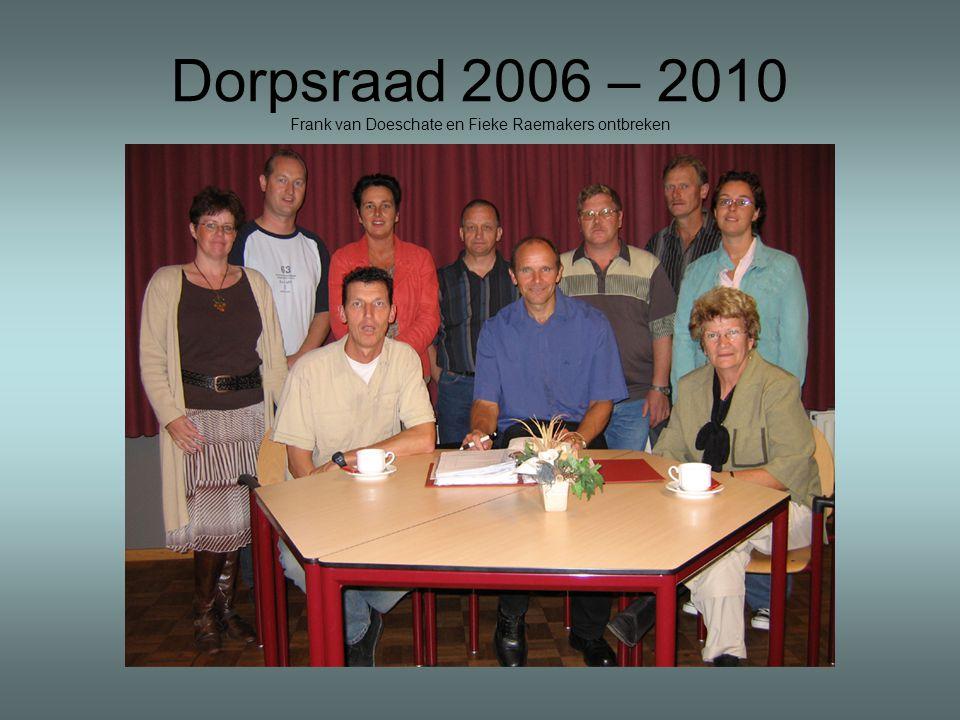 Dorpsraad 2006 – 2010 Frank van Doeschate en Fieke Raemakers ontbreken
