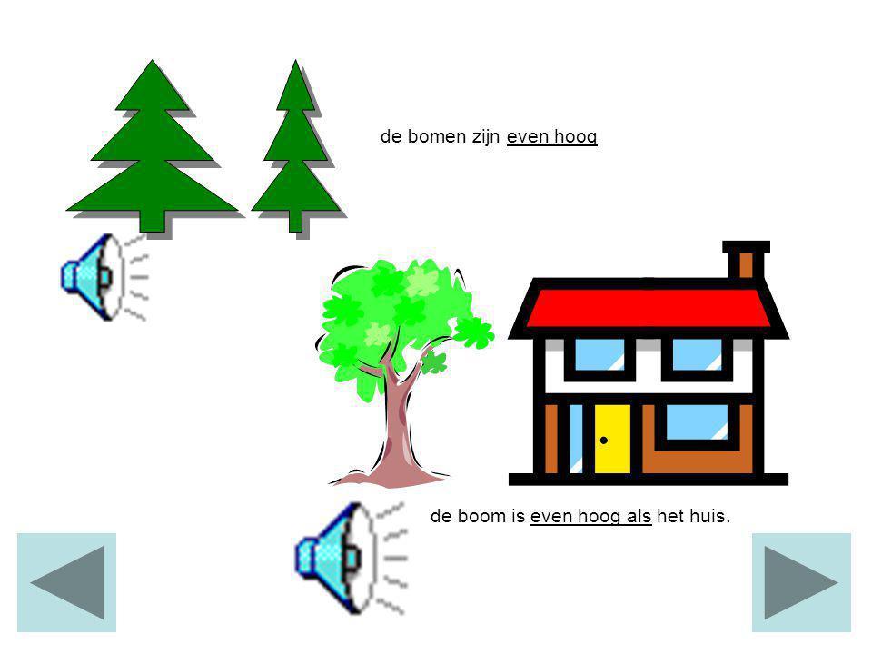 een huis is hoogeen flat is hoger een vuurtoren is het hoogst