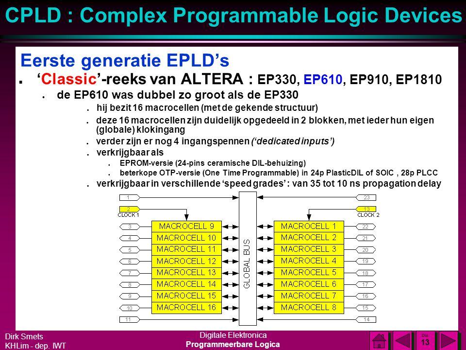 Dirk Smets KHLim - dep. IWT Digitale Elektronica Programmeerbare Logica CPLD : Complex Programmable Logic Devices DIA 12 DIA 12 Eerste generatie EPLD'