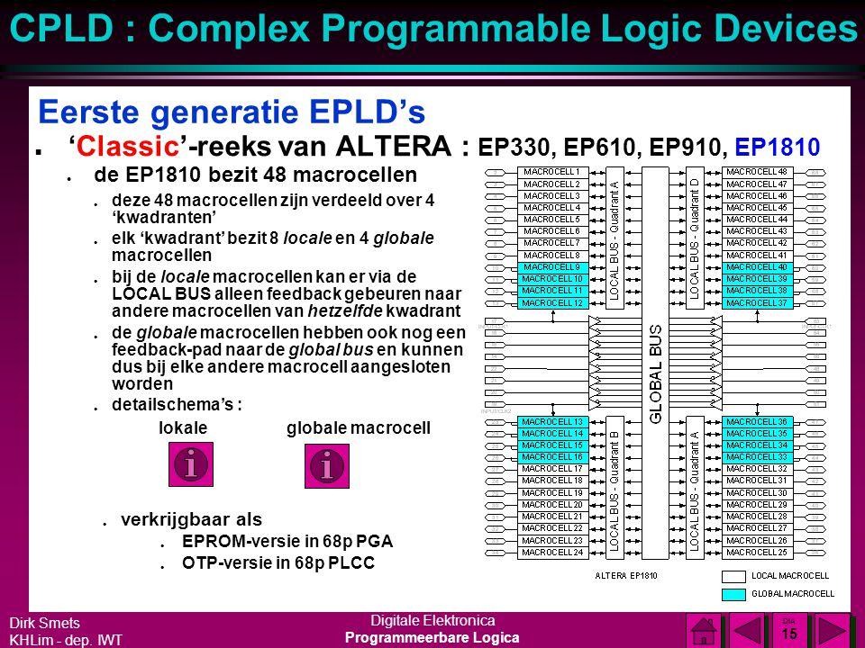 Dirk Smets KHLim - dep. IWT Digitale Elektronica Programmeerbare Logica CPLD : Complex Programmable Logic Devices DIA 14 DIA 14 Eerste generatie EPLD'