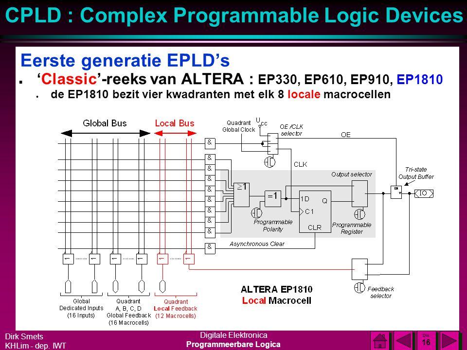 Dirk Smets KHLim - dep. IWT Digitale Elektronica Programmeerbare Logica CPLD : Complex Programmable Logic Devices DIA 15 DIA 15 Eerste generatie EPLD'