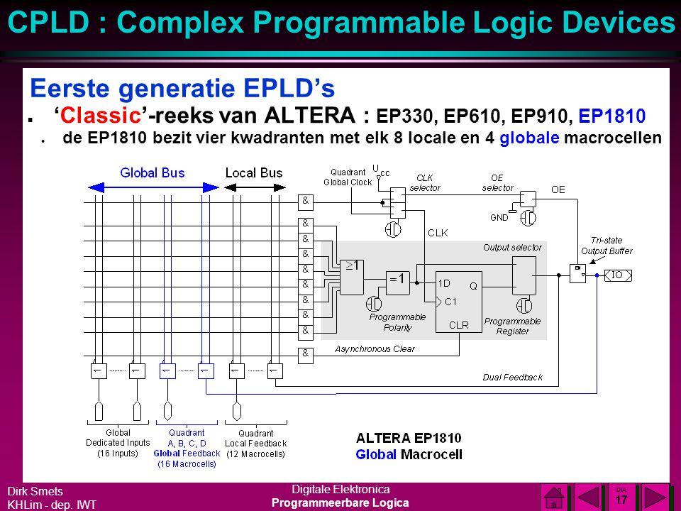 Dirk Smets KHLim - dep. IWT Digitale Elektronica Programmeerbare Logica CPLD : Complex Programmable Logic Devices DIA 16 DIA 16 Eerste generatie EPLD'