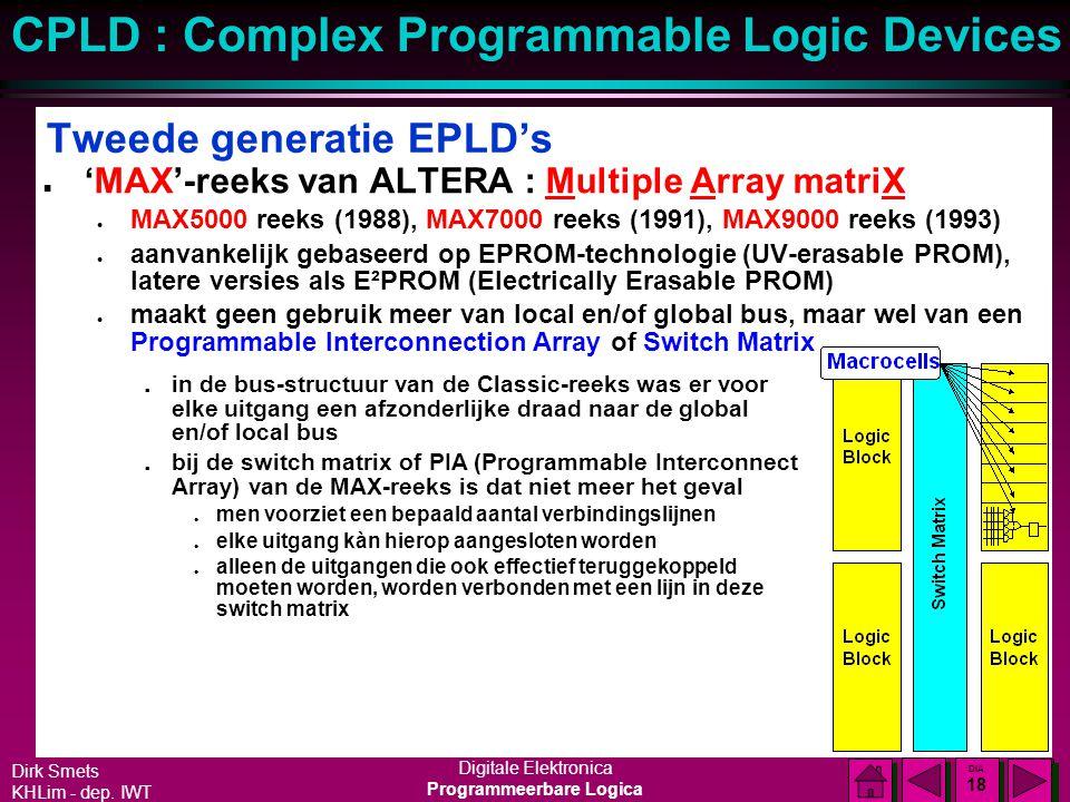 Dirk Smets KHLim - dep. IWT Digitale Elektronica Programmeerbare Logica CPLD : Complex Programmable Logic Devices DIA 17 DIA 17 Eerste generatie EPLD'