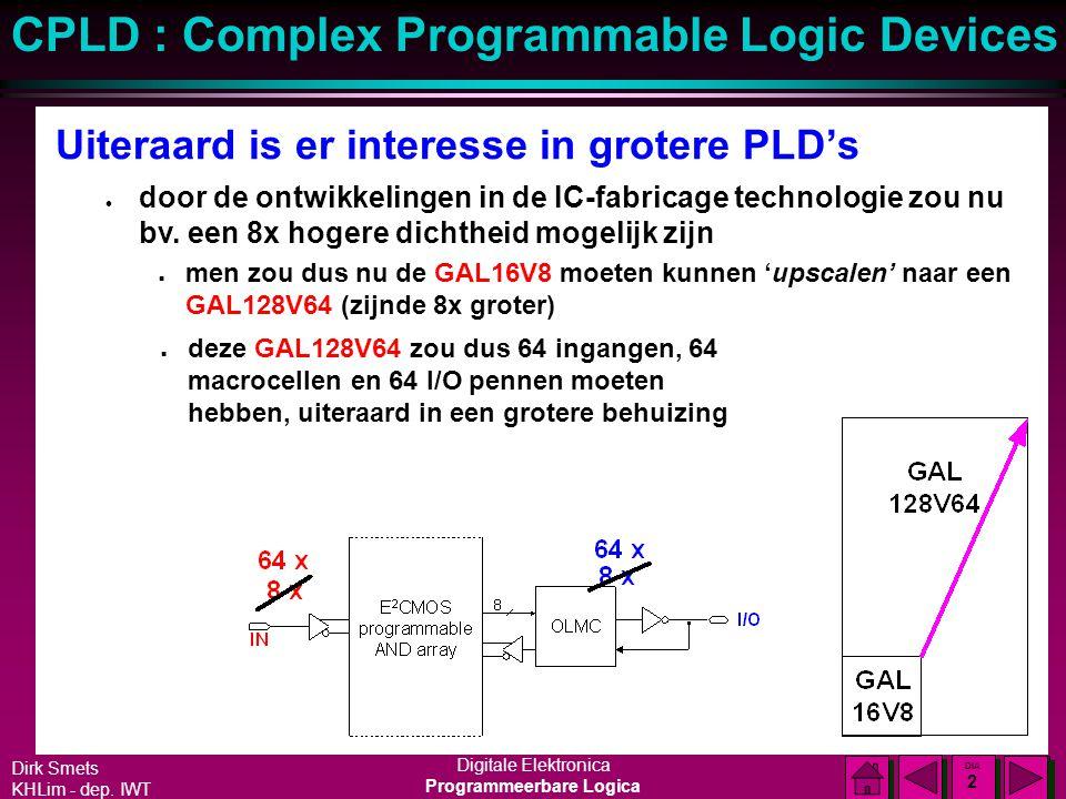 Dirk Smets KHLim - dep. IWT Digitale Elektronica Programmeerbare Logica CPLD : Complex Programmable Logic Devices DIA 1 DIA 1 Verdere uitbreiding van