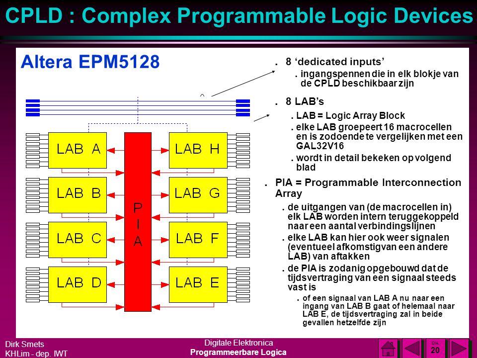 Dirk Smets KHLim - dep. IWT Digitale Elektronica Programmeerbare Logica CPLD : Complex Programmable Logic Devices DIA 19 DIA 19 Altera MAX5000 reeks l