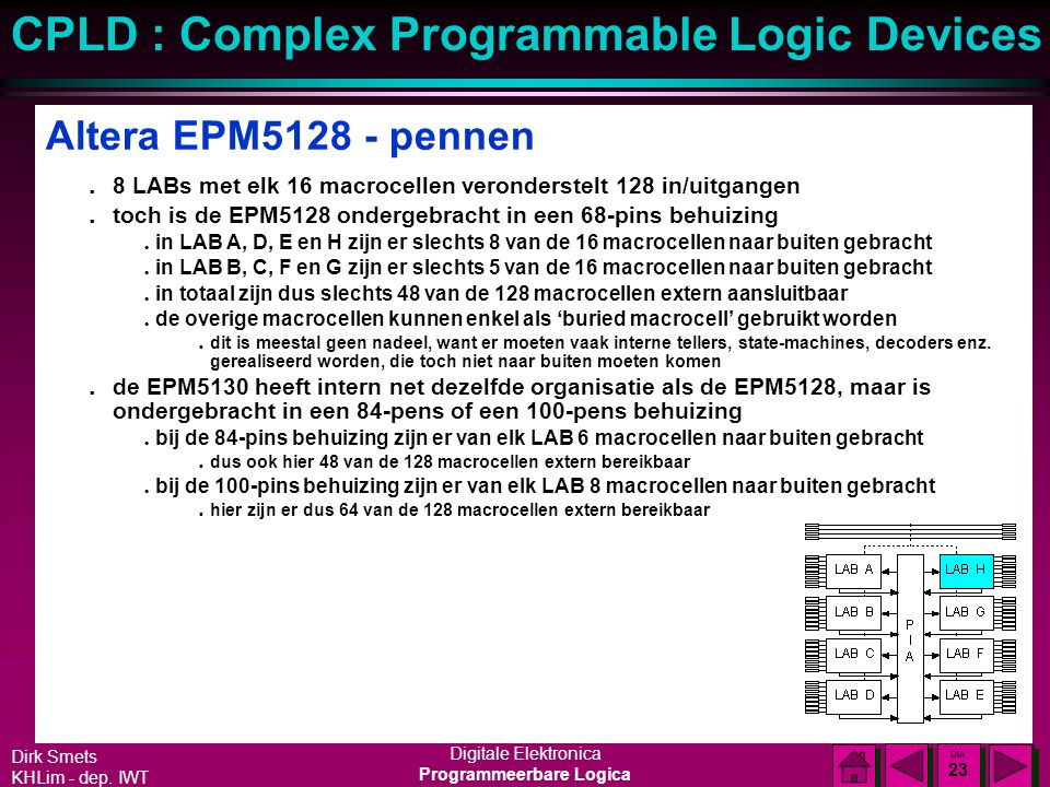 Dirk Smets KHLim - dep. IWT Digitale Elektronica Programmeerbare Logica CPLD : Complex Programmable Logic Devices DIA 22 DIA 22 Altera EPM5128 - macro