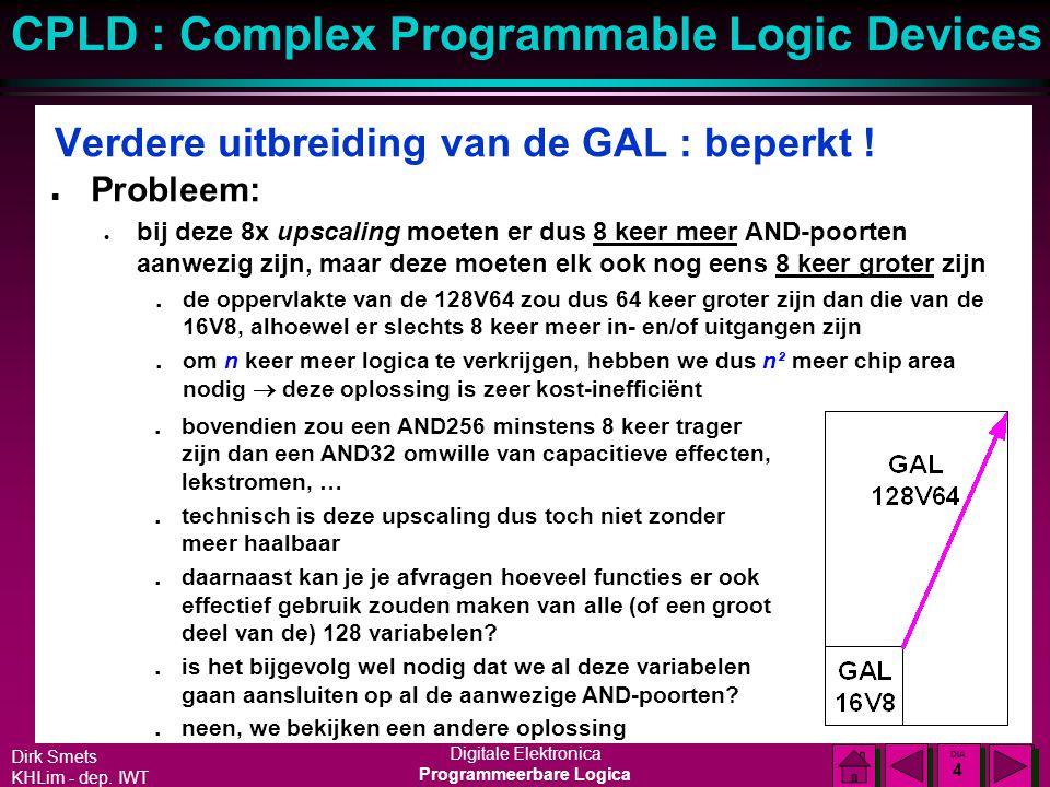 Dirk Smets KHLim - dep. IWT Digitale Elektronica Programmeerbare Logica CPLD : Complex Programmable Logic Devices DIA 3 DIA 3 Verdere uitbreiding van