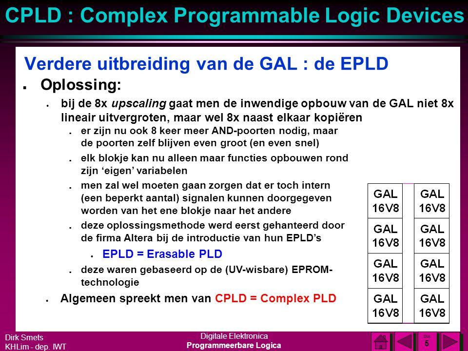Dirk Smets KHLim - dep. IWT Digitale Elektronica Programmeerbare Logica CPLD : Complex Programmable Logic Devices DIA 4 DIA 4 Verdere uitbreiding van