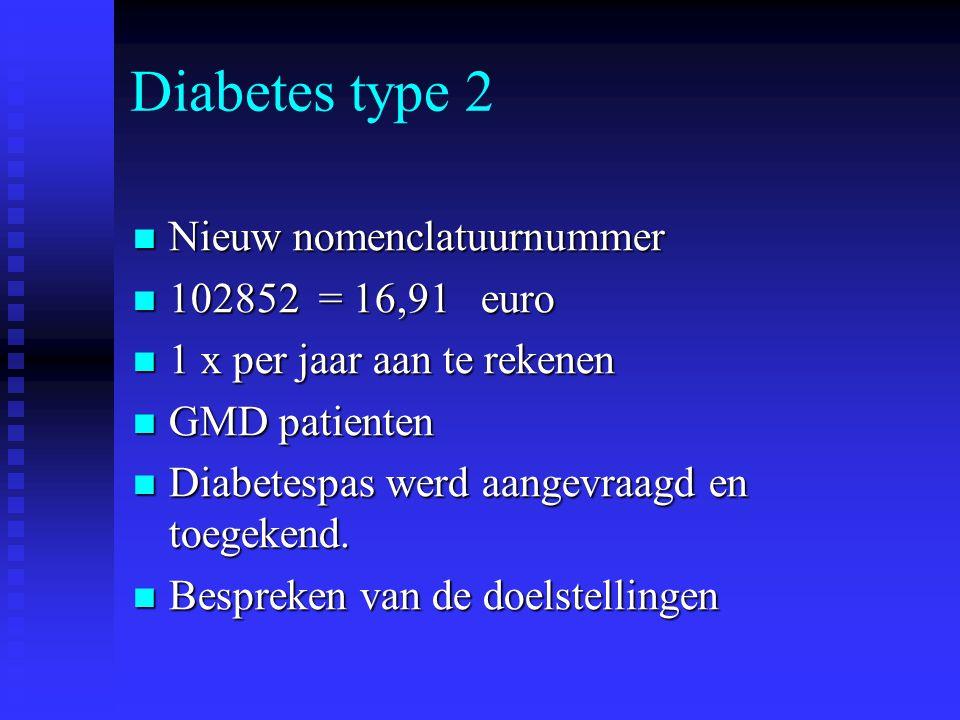 Bespreken doelstellingen + invullen diabetesboekje Streefgewicht : vb – 5 % Streefgewicht : vb – 5 % Lichaamsbeweging Lichaamsbeweging Niet roken Niet roken Bloeddruk 130 / 80 Bloeddruk 130 / 80 Nuchtere glycemie en HbA1c Nuchtere glycemie en HbA1c Dieetadvies (ev.