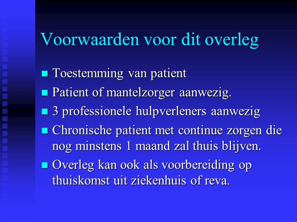 Voorwaarden voor dit overleg Toestemming van patient Toestemming van patient Patient of mantelzorger aanwezig. Patient of mantelzorger aanwezig. 3 pro